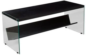 Ash Flash Furniture Highwood Collection Dark Wood Grain Finish Coffee Table with Shelves and Glass Frame