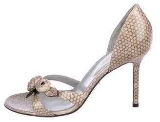 Sergio Rossi Embossed Embellished Sandals