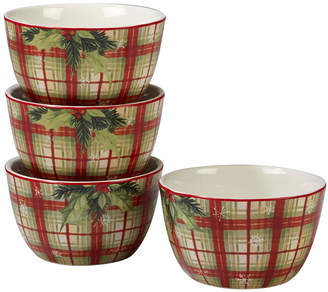 Certified International Holiday Wishes 4-Pc. Plaid Ice Cream Bowl