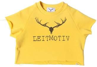 Leitmotiv Logo Printed Cotton Cropped Top