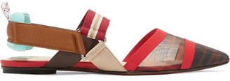 Fendi Colibrì Logo-print Mesh And Rubber Slingback Point-toe Flats - Brown