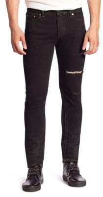 Saint Laurent Ripped Straight-Fit Jeans