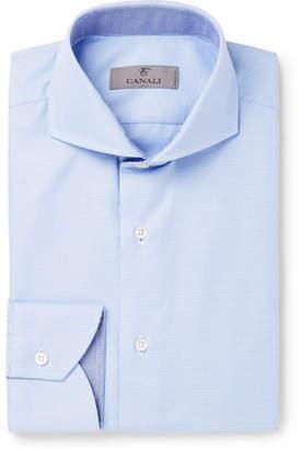 Canali Light-Blue Cutaway-Collar Checked Cotton-Jacquard Shirt