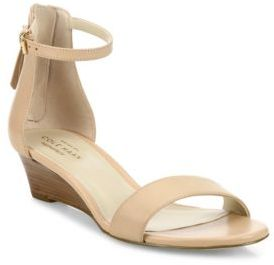 Cole Haan Adderly Leather Ankle-Strap Wedge Sandals $160 thestylecure.com