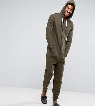 Asos Tall Onesie In Khaki