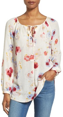 Women's Lucky Brand Floral Print Peasant Blouse $89.50 thestylecure.com