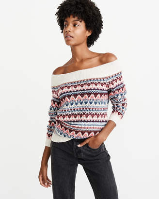 Abercrombie & Fitch Off-The-Shoulder Cable Knit Sweater