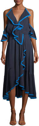 Milly Bryce Stretch-Silk Dress with Binding Detail