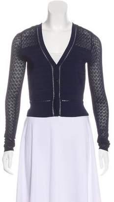 Diane von Furstenberg Crochet-Accented Knit Cardigan
