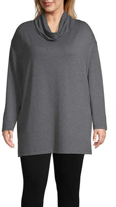 ST. JOHN'S BAY SJB ACTIVE Active Cowl Neck Tunic - Plus