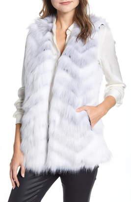 Via Spiga Chevron Faux Fur Vest