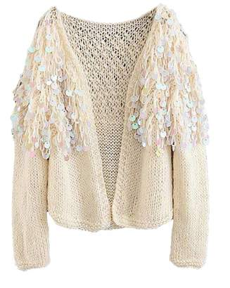 Goodnight Macaroon 'Roxie' Mohair Sequinned Open-Front Cardigan (4 Colors)