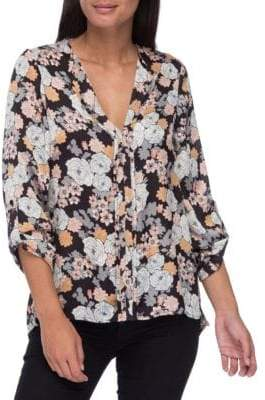 Cristy Pleat-Back Floral-Print Blouse