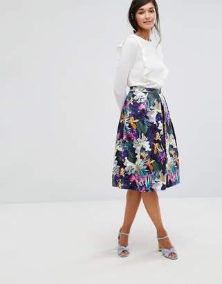 Oasis Tropical Print Midi Skater Skirt $87 thestylecure.com