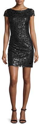 Alice + Olivia Penni Faux-Leather Lace Dress, Black $291 thestylecure.com