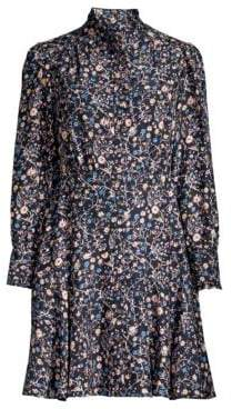 Rebecca Taylor Long-Sleeve Vivianna Floral A-Line Shirt Dress