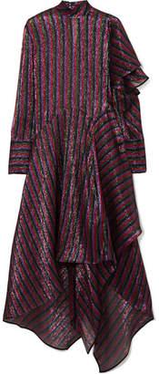 Petar Petrov Asymmetric Striped Metallic Silk-blend Dress - Plum
