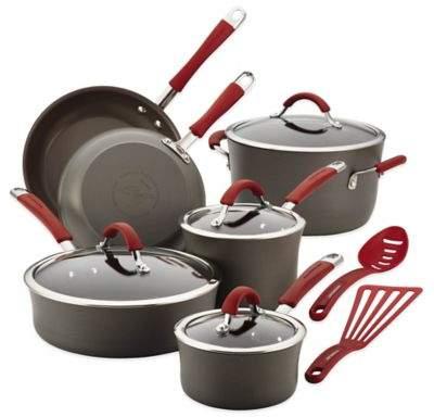 Rachael Ray Cucina 12-Piece Cookware Set in Grey/Cranberry