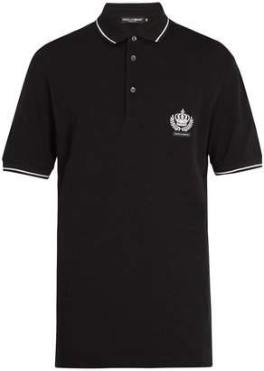 Dolce & Gabbana Crown-embroidered cotton-piqué polo shirt
