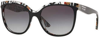 Burberry Gradient Butterfly Sunglasses w/ Check Print Trim