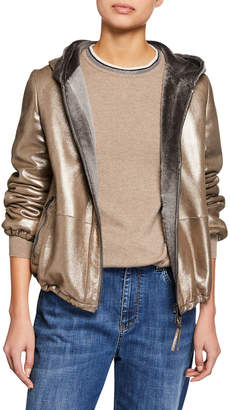 Brunello Cucinelli Shearling-Lined Sparkle-Leather Hoodie Jacket