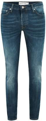 Topman Blue Wash Stretch Skinny Jeans