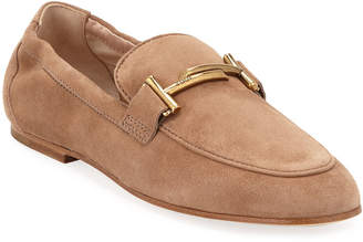 Tod's Double-T Scrunched Suede Loafer