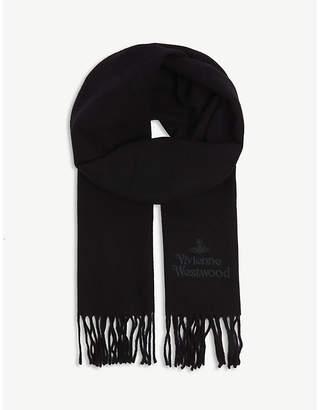 Vivienne Westwood Logo embroidered wool scarf