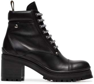 Miu Miu Logo Embellished Leather Combat Boots