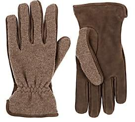 Barneys New York MEN'S MERINO WOOL-CASHMERE & SUEDE GLOVES-BROWN SIZE 8.5