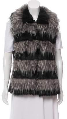 Adrienne Landau Faux Fur Leather Vest