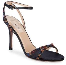 Valentino Embellished Feather Ankle-Strap Sandals