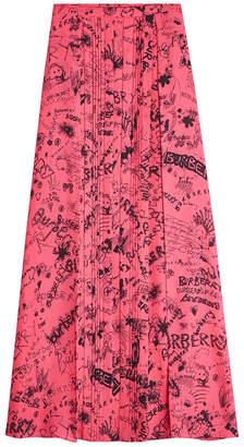Burberry Neckar Doodle Silk Skirt