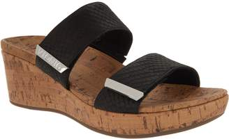 Vionic Leather Snake Slide Wedges - Pepper