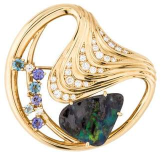 Boulder Opal, Aquamarine, Tanzanite, & Diamond Brooch
