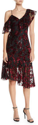 Parker Black Ilana Asymmetric-Sleeve V-Neck Dress