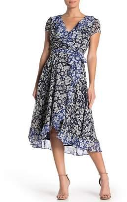 Gabby Skye Mixed Floral High/Low Midi Dress