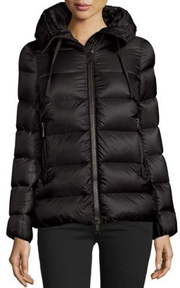 Moncler Serinde Hooded Short Puffer Jacket, Black $1,180 thestylecure.com