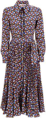 La DoubleJ Pleated Printed Crepe Midi Dress Size: XS