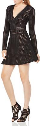BCBGMAXAZRIA Kinley Striped Mesh Dress $198 thestylecure.com