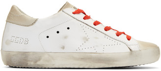 Golden Goose White & Red Superstar Sneakers $445 thestylecure.com