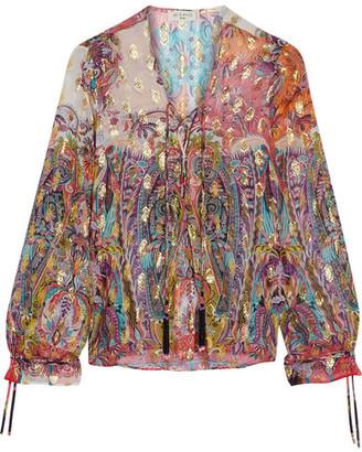 Etro - Metallic Printed Fil Coupé Silk-blend Georgette Top - Pink $1,060 thestylecure.com