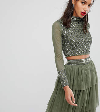 Lace and Beads Lace & Beads Embellished Long Sleeve Crop Top With Mandarin Collar