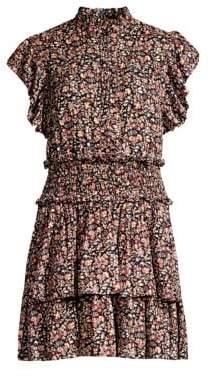 Rebecca Taylor Gitane Floral Ruffle High-Neck Dress