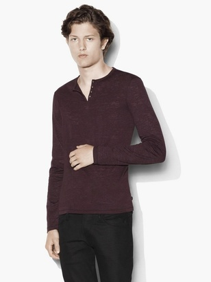 Long Sleeve Eyelet Henley $128 thestylecure.com
