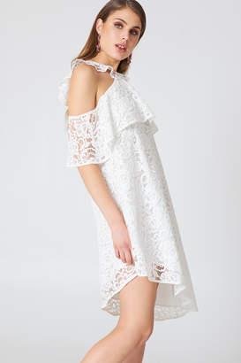 Na Kd Boho Cold Shoulder Frill Lace Dress Black