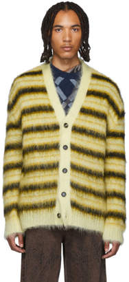 Marni Yellow and Black Striped Mohair Cardigan