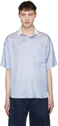Sunnei White and Blue Striped Polo