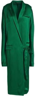 Haider Ackermann Belted Satin Midi Wrap Dress