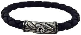David Yurman 925 Sterling Silver with Black Diamonds & Chevron Woven Rubber Bracelet